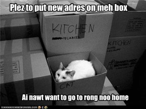 Plez to put new adres on meh box