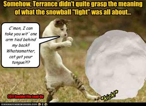 """Somehow, Terrance didn't quite grasp the meaning of what the snowball """"fight"""" was all about..."""