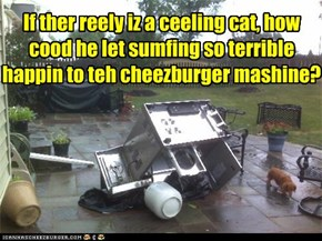 If ther reely iz a ceeling cat, how cood he let sumfing so terrible happin to teh cheezburger mashine?