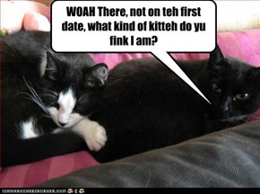 WOAH There, not on teh first date, what kind of kitteh do yu fink I am?