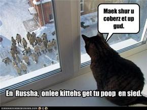 En  Russha,  onlee kittehs get tu poop  en sied.