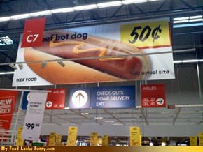 Funny Food Photos - Not Actual Size Hot Dog