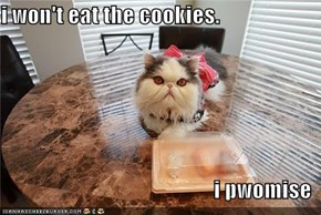 i won't eat the cookies.  i pwomise