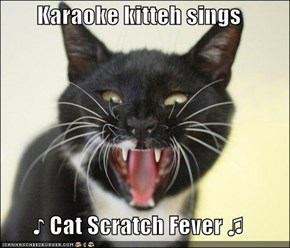 Karaoke kitteh sings  ♪ Cat Scratch Fever ♫