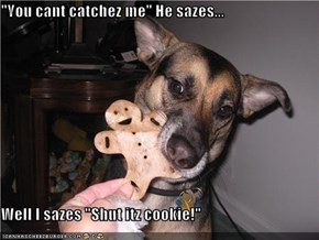 """You cant catchez me"" He sazes...  Well I sazes ""Shut itz cookie!"""