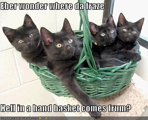 Eber wonder where da fraze  Hell in a hand basket comes frum?