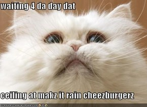 waiting 4 da day dat  ceiling at makz it rain cheezburgerz
