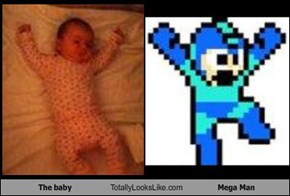 The baby Totally Looks Like Mega Man