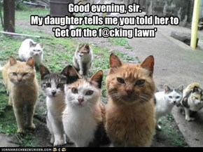 Good evening, sir. My daughter tells me you told her to  'Get off the f@cking lawn'