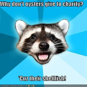 Why don't oysters give to charity?  'Cuz their shellfish!