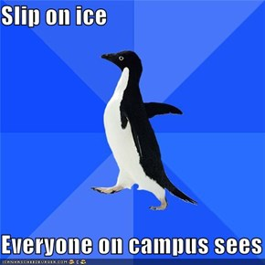 Slip on ice  Everyone on campus sees