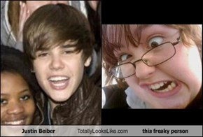 Justin Beiber Totally Looks Like this freaky person