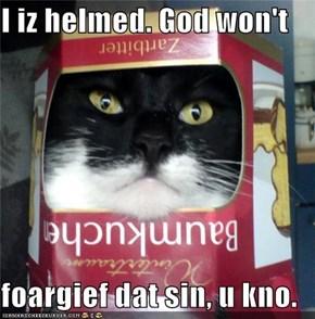 I iz helmed. God won't  foargief dat sin, u kno.
