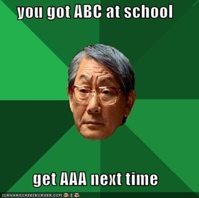 you got ABC at school  get AAA next time