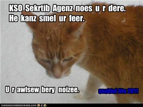 KSO  Sekrtib  Agenz  noes  u  r  dere.  He  kanz  smel  ur  feer.