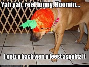 Yah yah, reel funny, Hoomin...