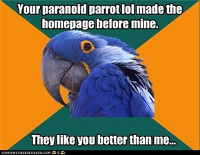 Your paranoid parrot lol made the homepage before mine.