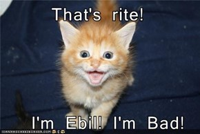 That's rite!      I'm Ebil! I'm Bad!