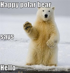 Happy polar bear says Hello