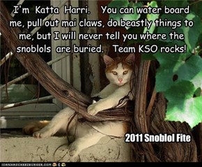 I'm  Katta  Harri.    You can water board me, pull out mai claws, do beastly things to me, but I will never tell you where the snoblols  are buried.   Team KSO rocks!