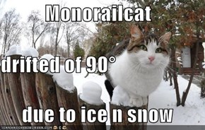 Monorailcat drifted of 90° due to ice n snow