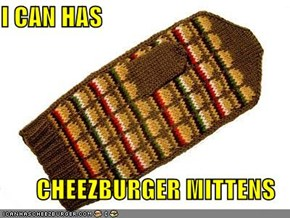 I CAN HAS  CHEEZBURGER MITTENS