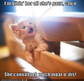 I'm gibin' her all she's gawt, cap'n  She canna taek much moar o 'dis!