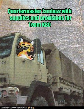 Quartermaster Jambuzz with    supplies and provisions for Team KSO