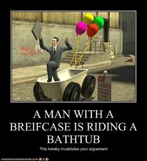 A MAN WITH A BREIFCASE IS RIDING A BATHTUB