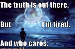 The truth is out there. But                     I'm tired. And who cares.