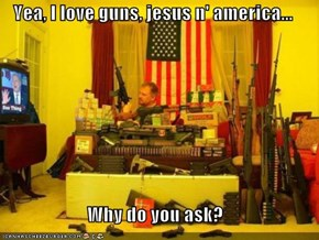 Yea, I love guns, jesus n' america...  Why do you ask?