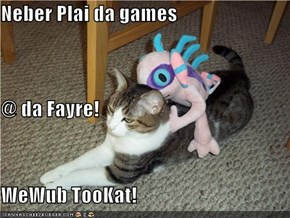 Neber Plai da games @ da Fayre! WeWub TooKat!