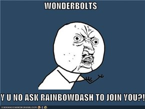 WONDERBOLTS  Y U NO ASK RAINBOWDASH TO JOIN YOU?!