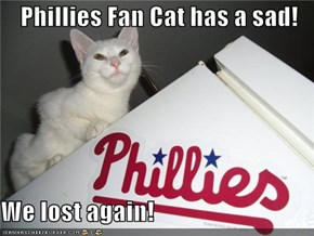 Phillies Fan Cat has a sad!  We lost again!