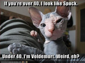 If you're over 40, I look like Spock.  Under 40, I'm Voldemort. Weird, eh?