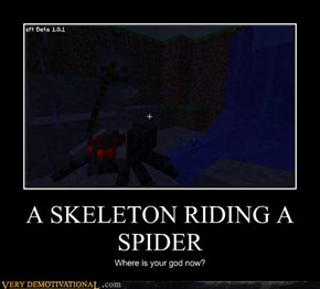 A SKELETON RIDING A SPIDER