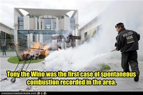 Tony the Wino was the first case of spontaneous combustion recorded in the area.