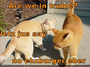 Are we in truble? letz jus say no chzburger eber