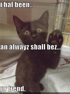 i haf been... an alwayz shall bez... ur frend.