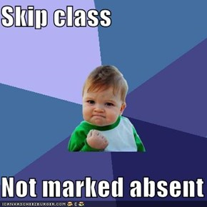 Skip class  Not marked absent