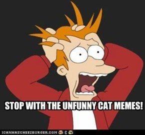 STOP WITH THE UNFUNNY CAT MEMES!