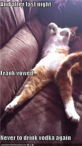And after last night Frank vowed... Never to drink vodka again