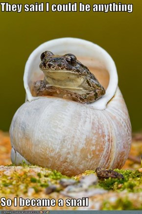 They said I could be anything  So I became a snail