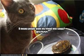 U meanz peoplz want my friend into soupz? WTF?!!?!?!