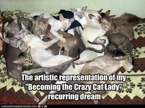 "The artistic representation of my ""Becoming the Crazy Cat Lady""  recurring dream"
