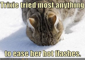 Trixie tried most anything     to ease her hot flashes.