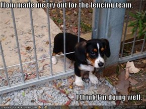 Mom made me try out for the fencing team.  I think I'm doing well.