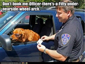 Don't-book-me-Officer-there's-a- Fifty-under-nearside-wheel-arch.