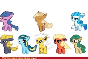 Ponified Eevee with evolutions