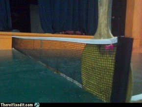 Ping-pong paddle + pin = Net fix